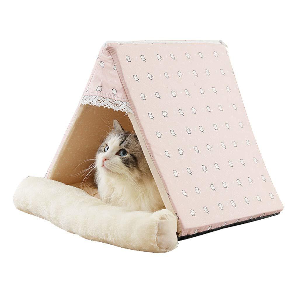 A 384034cm A 384034cm Triangle Mongolian Pet Nest, Small Medium Dog Teddy Cat Dog Bed, Four Seasons Universal Pet Supplies Semi-Closed Non-Slip Mat (color   A, Size   38  40  34cm)