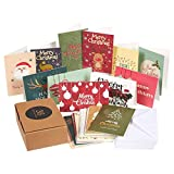 36-Pack Merry Christmas Greeting Cards Bulk Box Set – Assorted Winter Holiday Xmas Kraft Greeting Cards in 36 Cute Designs, Envelopes Included, 4 x 6 Inches
