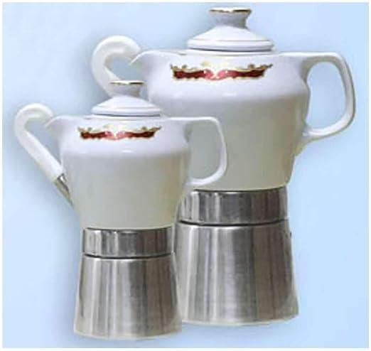 Sirge Cafetera Moka 4 tazas de porcelana, diseño de Final certificada Mary 55 y oro: Amazon.es: Hogar