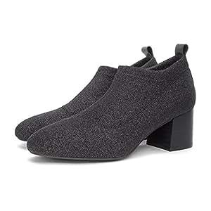 WYYY Zapatos De Mujer Zapatos De Tacón Alto Paño De Flash Áspero Con Boca Profunda Cabeza Cuadrada Zapatos De Trabajo Zapatos Casuales 5.5 Cm ( Tamaño : 36 )
