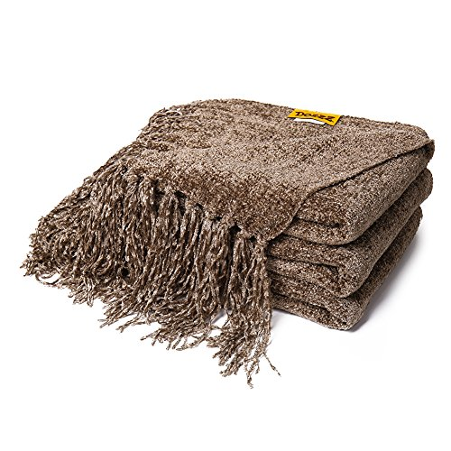 DOZZZ Fluffy Chenille Knitted Throw Blanket with Decorative Fringe for Home Décor Bed Sofa Couch Chair Brown ()