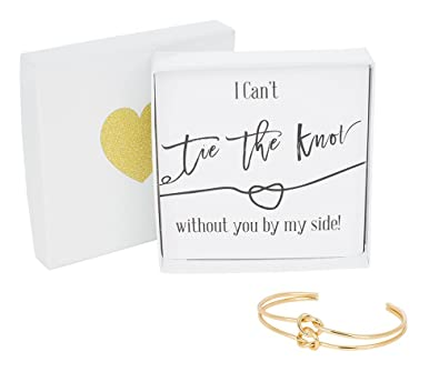 Bridesmaid Gifts I Cant Tie The Knot Without You Cuff Bracelet With Gift Box Double Love Knot Cuff Bangle Wedding Gift Set