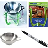 Bag Well Freezer Bag Holder for 1 Gallon Plastic Baggies W/Wide Mouth Stainless Steel Funnel + Sharpie Marker for Storage Bags Baggy Stand Baggie Rack