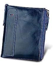 Carteras DOXUNGO para hombres Bloqueo RFID Bifold titular de cuero genuino Bifold Monedero Vintage grandes CWallets Vintage Bifold con cremallera Monedero (Azul)