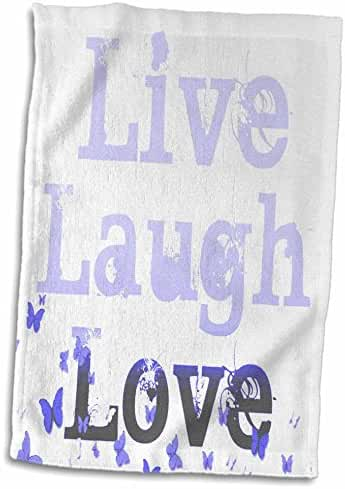3dRose Patricia Sanders Inspirations - Live, Laugh, Love Purple Butterflies- Inspirational Words - 12x18 Hand Towel (twl_37961_1)