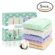 Nkkfrey Baby Muslin Washcloths and Towels –100% Premium Natural Cotton Baby Reusable Wipes - Soft Newborn Baby Face Towel and Muslin Washcloth for Sensitive Skin- Baby Registry as Shower Gift (5 Pack)