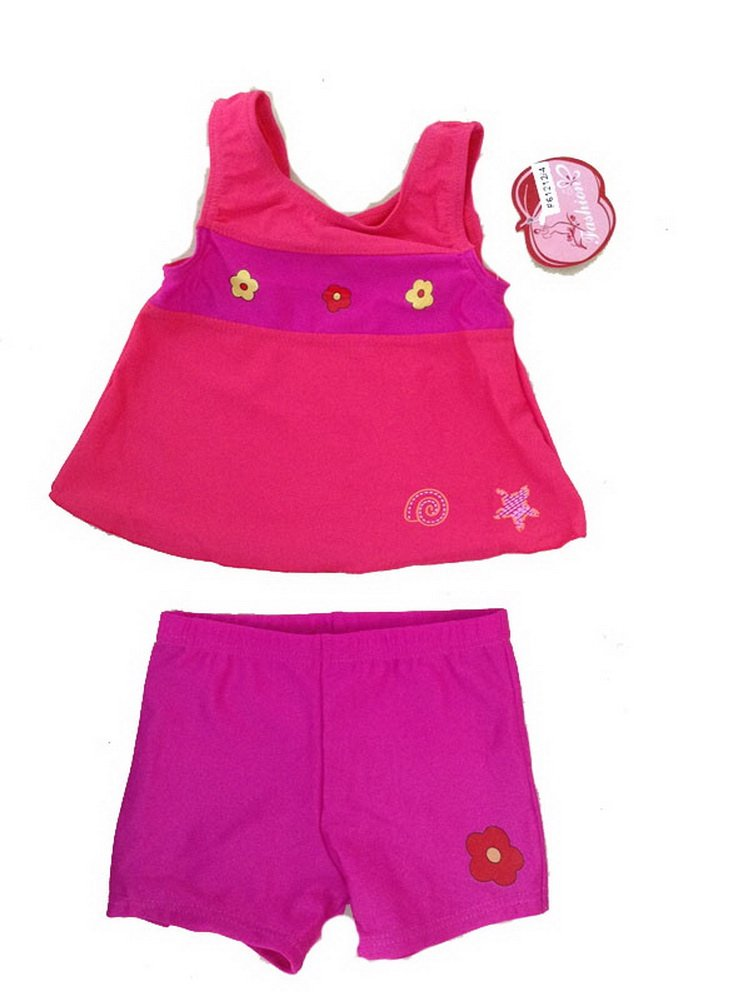 1-3 Years Old Girls Two Piece Swimsuits Color Block Fuchsia Swimwear PANDA SUPERSTORE PS-SPO2420250011-EMILY00789