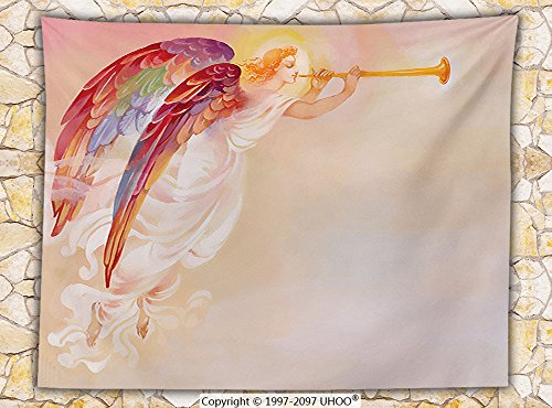 Fantasy House Decor Fleece Throw Blanket Pure Angel Saint Raphael with His Flask Wings Prayer Protection Holy Hope Theme Art Throw by iPrint