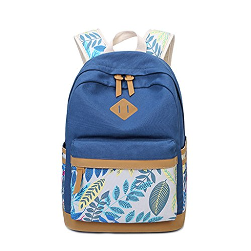 Fashion College Pattern Laptop Boys Canvas Women Style Deep School Gubenm Blue Bag Backpack Anti Teenagers Travel Student Lightweight Preppy Girls Leaf theft 0wSxPwXqH