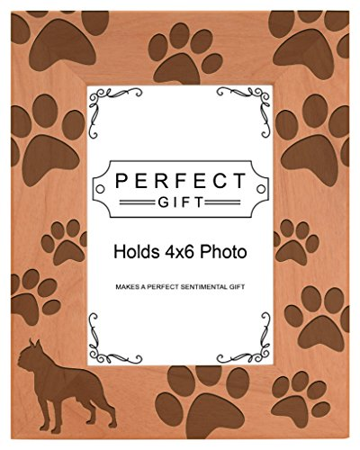 Boston Terrier Portrait - Gifts For All By Rachel Olevia Dog Lover Gift Boston Terrier Paw Prints Natural Wood Engraved 4x6 Portrait Picture Frame Wood