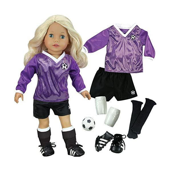 Sophias-Doll-Clothes-for-18-Inch-Doll-Soccer-Outfit-Ball-Black-Socks-Cleats-Complete-18-Inch-Doll-Sports-set-Fits-American-Girl-Dolls
