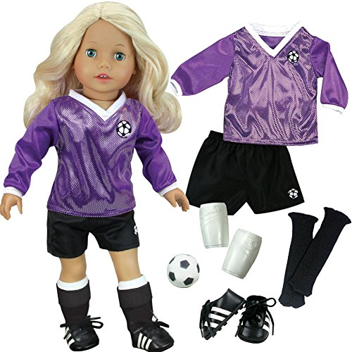 Sophias Doll Clothes for 18 Inch Doll Soccer Outfit, Ball, Black Socks & Cleats, Complete 18 Inch Doll Sports set, Fits American Girl Dolls
