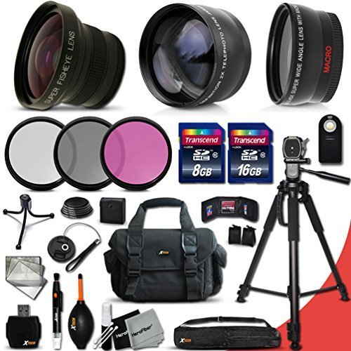 Deluxe 28 Piece Accessory Kit for Canon EOS Rebel T6i T6S T5i T5 T4i T3i T3 T2i 750D 70D 60D 60Da 700D 650D 600D 550D 1200D 1100D 100D SL1 EOS M3 M2 7D Mark II 5D Mark II EOS 5D Mark III XS XSi XT XTi Kiss X50 kiss X70 Kiss X7i Kiss X6i Kiss X5 kiss X4 DS by Xtech