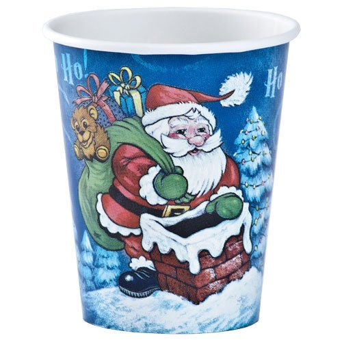 Hannah K. Christmas 12-Pack 9-Ounce Santa Hot and Cold Paper Cup, Full