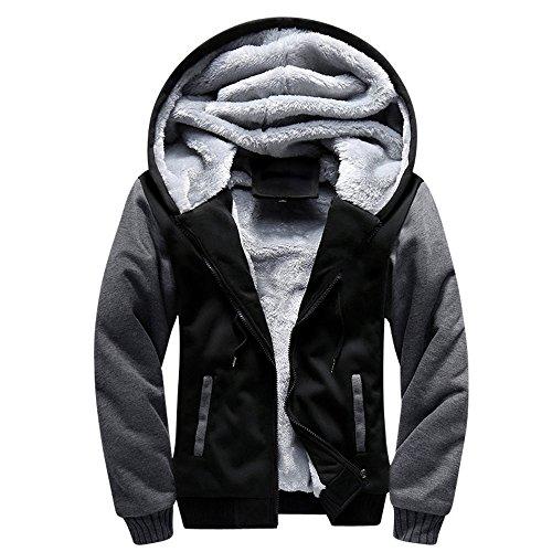 BossKey Mens Winter Warm Fleece Jacket Hooded Pullover Wool Hoodies Coat Sweatshirt - Black, Red, Blue