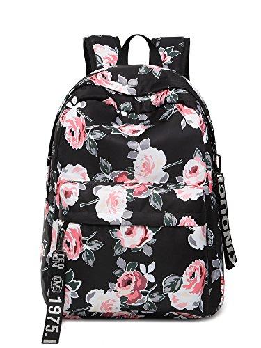 Leaper Fashion Floral Laptop Backpack Women Daypack Travel Bag Satchel Handbag (Floral Black-P)