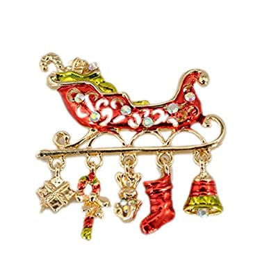 nice BESSKY Christmas Cute Brooch Pins Crystal Rhinestone Christmas Gift (#1) save more