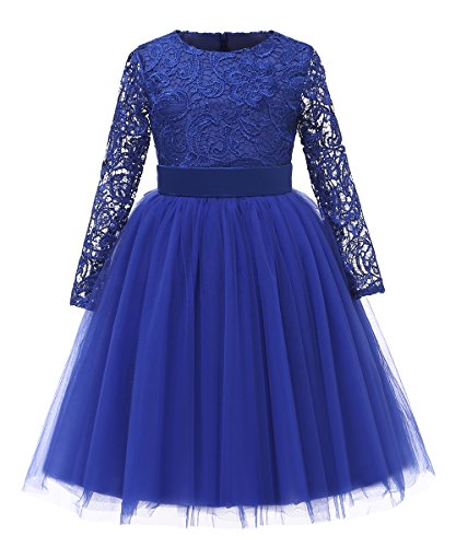 Flower Girl Dress Long Sleeves Lace Top Tulle Skirt Kids First Communion Gowns (Size 4, 02 -
