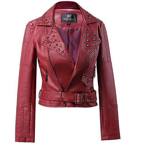 lingluofang LLF Womens Faux Leather Zip Up Moto Biker Jacket with Many Details X-Small Wine Red (16B1612)