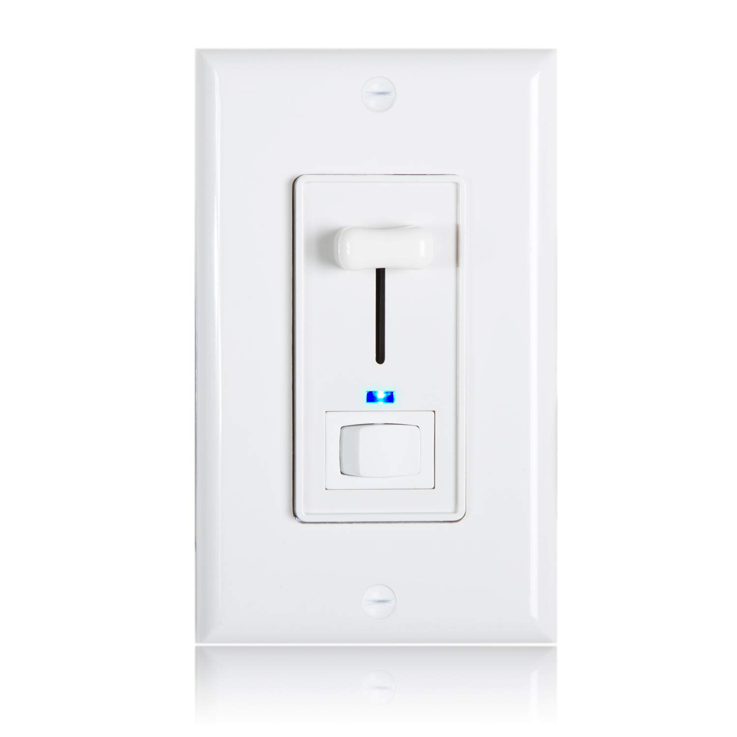 MEW-DM620-02 LED Compatible 2 Pack Maxxima 3-Way//Single Pole Dimmer Electrical Light Switch With Blue Indicator Light 600 Watt max Wall Plate Included