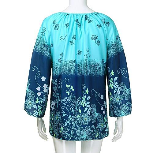 Tops Chemisier Femme Shirt Dentelle Manches en Bringbring Plus Bandage Imprim T Col Size Bleu V Vrac Chic Longues rqHZ7w0rE