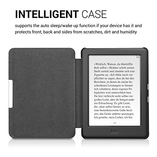 kwmobile Case for Kobo Glo HD (N437) / Touch 2.0 - Book Style PU Leather Protective e-Reader Cover Folio Case - black white by kwmobile (Image #4)