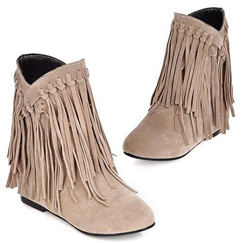 Botas Comodo Botines Zapatos De Flecos RAZAMAZA Mujer Beige Cargadores 5RHxqSw