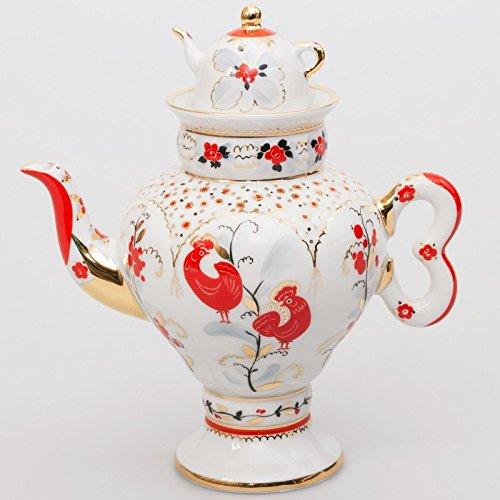 Russian Porcelain - Imperial / Lomonosov Porcelain Brewing Teapot 'Traditional Motifs'
