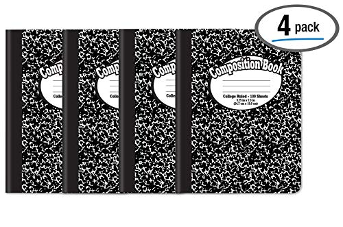 Composition Book Notebook - Hardcover, College Ruled (9/32-inch), 100 Sheet, One Subject, 9.75