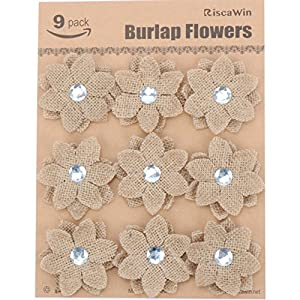 Wedding Decorations Small Burlap Flowers, RiscaWin Handmade Crafts Flowers Natural Hessian Flowers Burlap Lotus Dandelion Rose Vintage for DIY Craft Birthady Party Home Decoration Centerpieces-9 Pcs 3