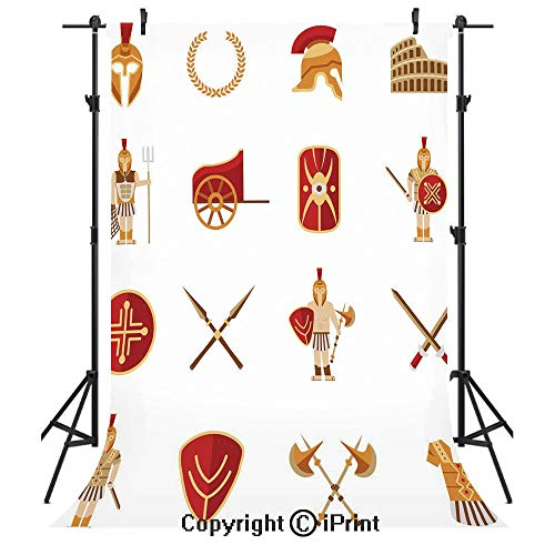 Toga Party Photography Backdrops,Fighters Gladiators Greek Antiquity Warriors Icons Set in Graphic Style Decorative,Birthday Party Seamless Photo Studio Booth Background Banner 10x20ft,Orange Brown -