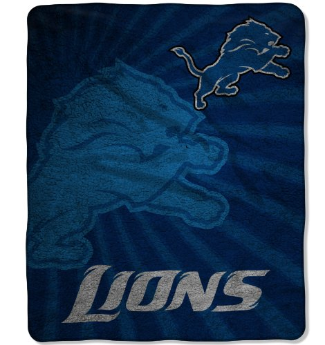 "The Northwest Company Officially Licensed NFL Detroit Lions Strobe Sherpa on Sherpa Throw Blanket, 50"" x 60"""