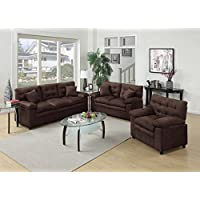 3Pcs Modern Microsuede Chocolate Sofa Loveseat Chair Set with a Pillow Top Seat and Accent Tufting