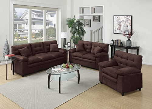 3Pcs Modern Microsuede Chocolate Sofa Loveseat Chair Set with a Pillow Top Seat and Accent (Microsuede Living Room)