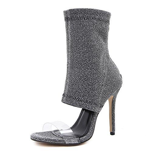 boca Silver bien con fina boca pescado hembra de botas zapatos Con lana botas de expuesto fresco pescado ZHZNVX zapatos IABqf