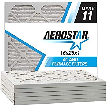 Aerostar 16x25x1 MERV 11 Pleated Air Filter, Made in the USA, 6-Pack