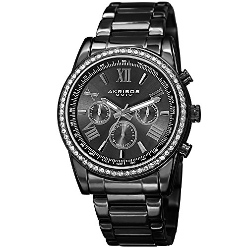 (Father's Day Gift! - Akribos Multi-Function Swarovski Crystal Accented Steel Bracelet Watch - Three Hand Movement with Two Time Zones and Date Complication - Men's Ultimate Swiss Watch - AK868 -Black)
