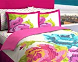 Pink & Blue Pixel Flowers Girls Full Comforter Set (8 Piece Bed In A Bag)