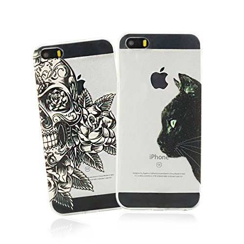 2 x Coque iPhone SE , iPhone 5S Etui TPU , 2 x Coque CaseLover Etui Coque TPU Slim pour iPhone 5 / iPhone 5S / iPhone SE Mode Flexible Souple Soft Case Couverture Housse Protection Anti Rayures Ultra