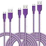 [3 Pack] Fasgear Micro USB(3ft,6ft,10ft) - Premium Charging Cables [Braided Nylon] for Samsung, Nexus, LG, Android Smartphone and More (Purple)