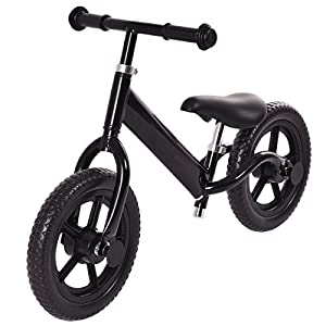 "12"" Black Balance Bike Classic No-PedalAdjustable Seat"
