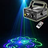 SUNY Professional Sound Active Remote-Controlled 3 Lens 20 Gobos Effect Red Green Laser Blue LED Projector Stage Light for DJ Disco Family Party Home Decorative Stage Lighting Z20GB