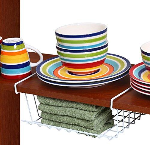 Ybm Home, Under Shelf Storage Organizer Basket, Kitchen Pantry Wrap Rack 12-inch, White #2081