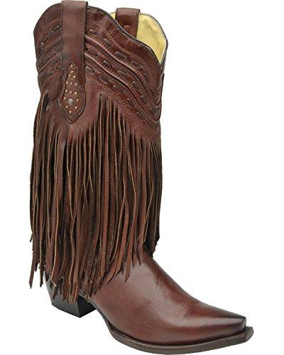 Innhegningen Boot Selskap Womens Brun Pisk Sting Frynser Cowgirl Boots Sjokolade