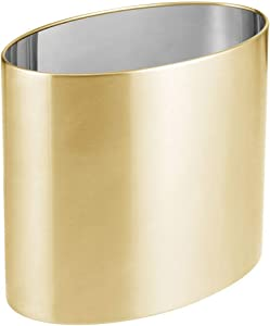 mDesign Oval Metal Decorative Small Trash Can Wastebasket, Garbage Container Bin for Bathrooms, Kitchens, Home Offices, Dorm Rooms - Brass