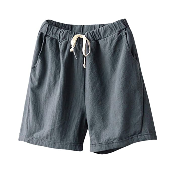 3ec2727623e2 Women Linen Shorts,Mosstars Ladies Sale Summer Slim Elastic Waist Lady Short  Pants Womens Casual Solid Color Cotton Wide Leg Trunks: Amazon.co.uk:  Clothing
