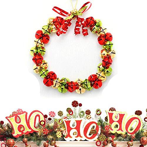 Charmly Christmas Wreath Metal Jingle Bells Wreath Christmas Tree Windows Doors Shopping Malls Décor (Silver Wreath Bell)