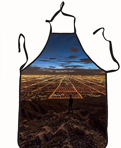 chanrancase tailored apron man looking at las vegas from mountain Children, unisex kitchen apron, adjustable neck for barbecue 26.6x27.6+10.2(neck) - Vegas Show Las Fashion At Shops