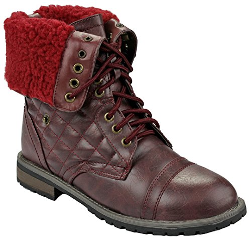 JJF Shoes Women Holly09 Wine Military Combat Foldable Cuff Faux Leather Quilted Back Zipper Lace Up Boots-8