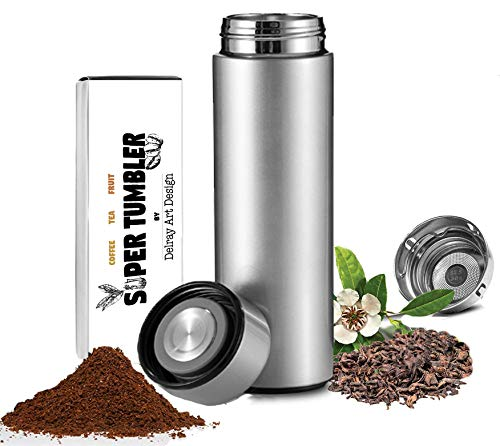 (ALL IN ONE Tumbler and Travel Mug | Tea Infuser Portable Water Bottle | Fruit Infused Flask | Hot & Cold Double Wall Coffee Thermos | Stainless Steel 16.9 oz Silver)